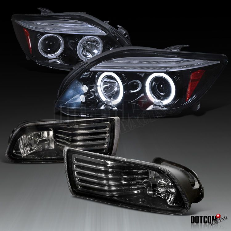 New! Glossy Black 05-10 Scion tC Smoke LED Dual Halo Projector Headlights Lamps