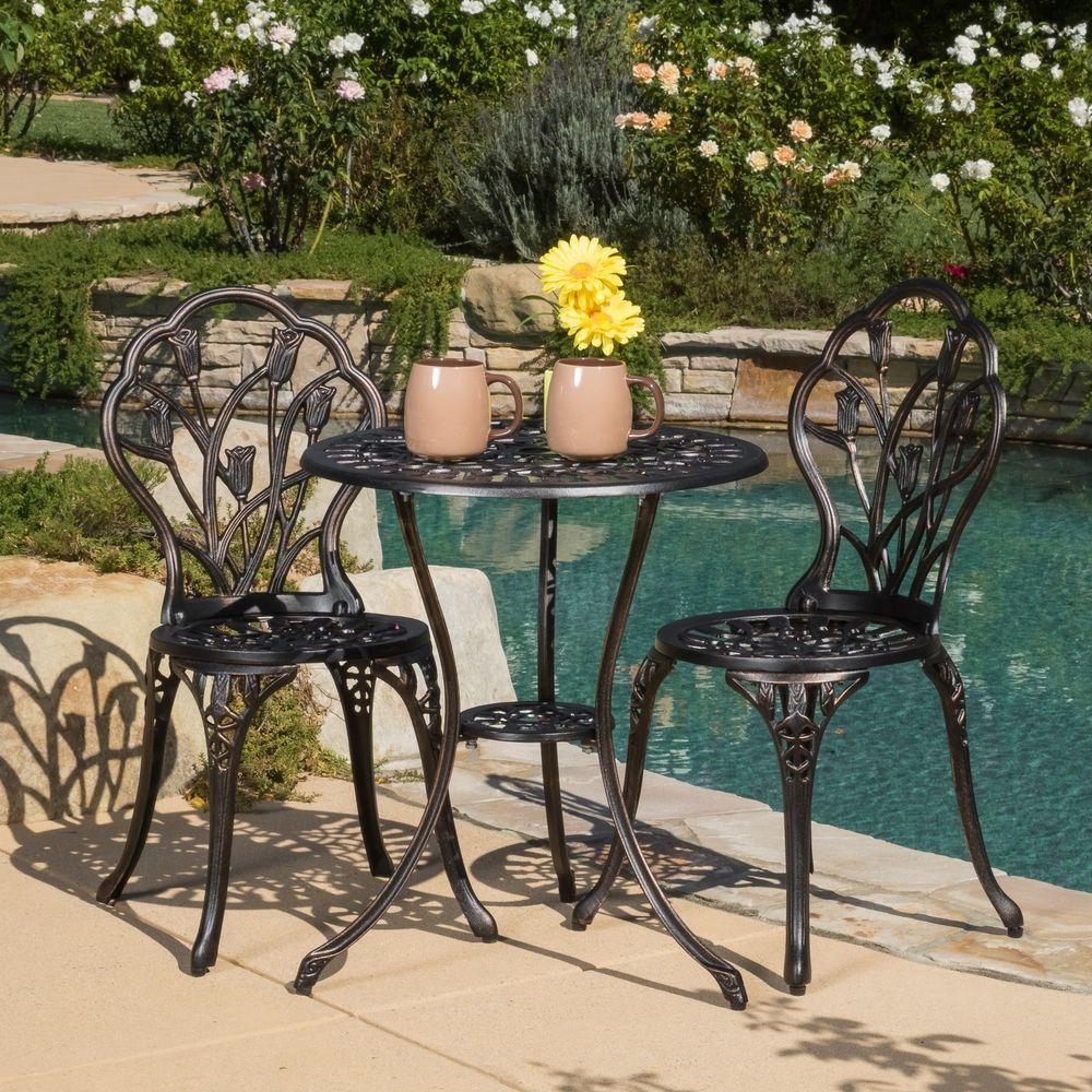 Details About 3 Piece Bistro Set Outdoor Patio Cast Aluminum Porch