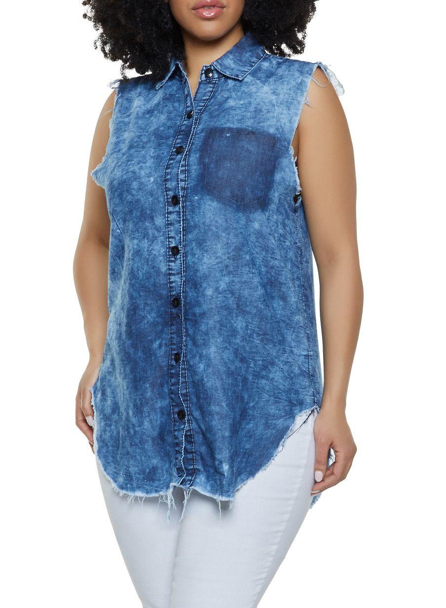 bd04529abdf Plus Size Frayed Denim Button Front Shirt - Blue - Size 1X in 2019 ...