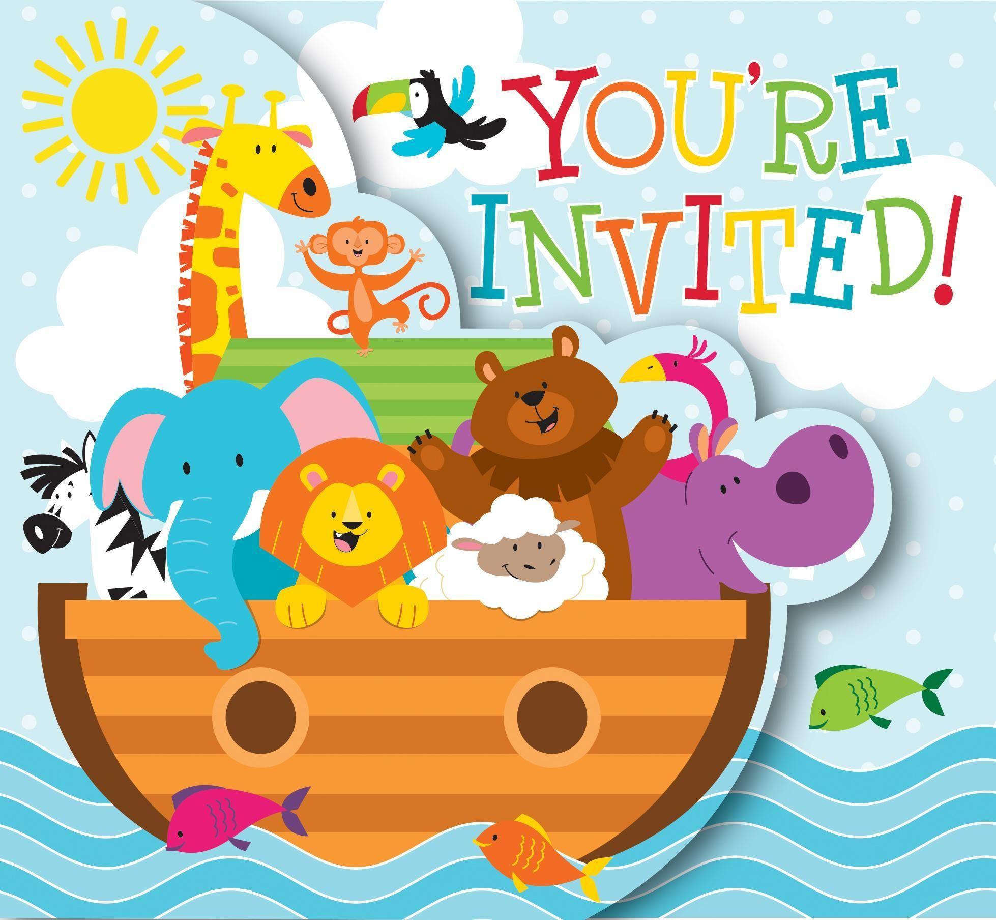 Noah\'s Ark Invitation, Diecut Gatefold (48/case)