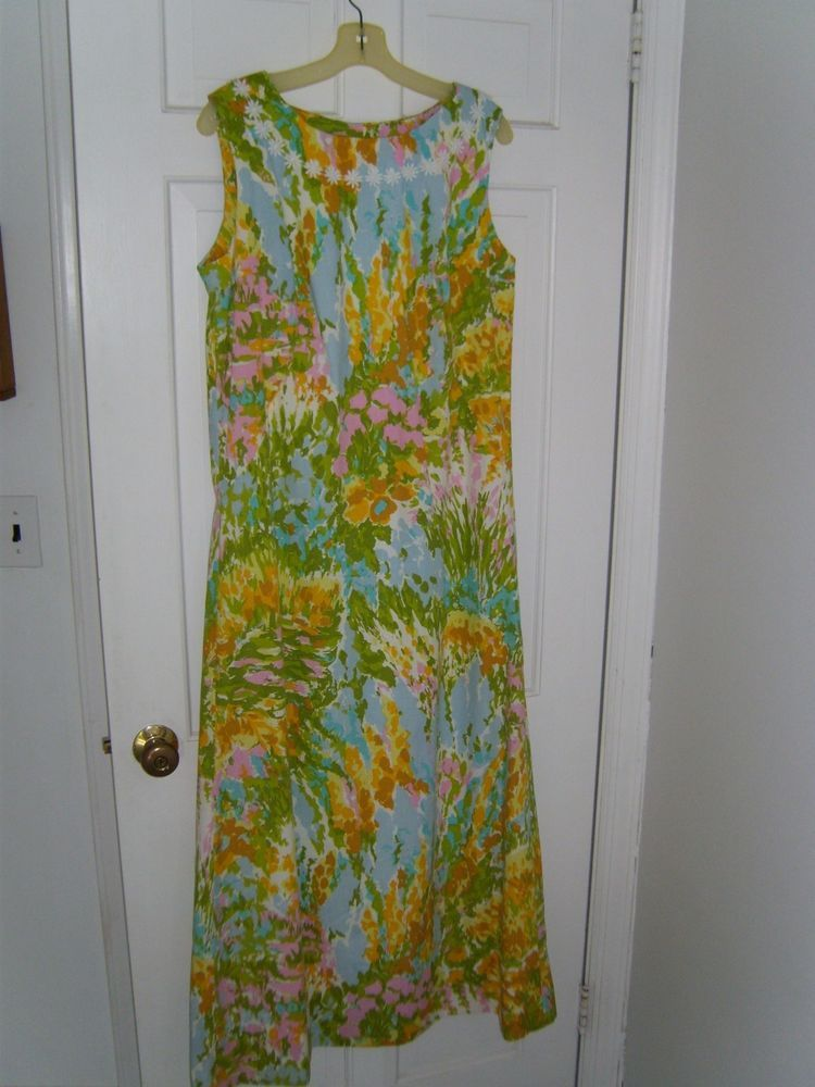 a1a875123a9006 Vintage Lilly Pulitzer look size 10 Cotton Long Maxi dress EUC #Handmade