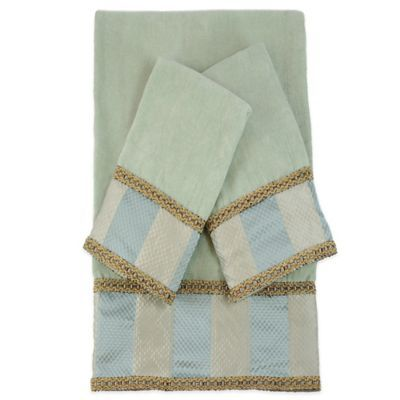 Austin Horn Classics Genevieve Stripe Embellished Bath Towels In