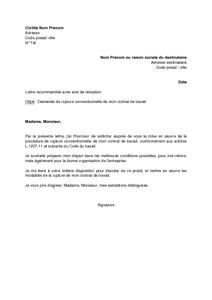 lettre de demande de contrat de travail Lettre de demande de rupture conventionnelle du contrat de travail  lettre de demande de contrat de travail