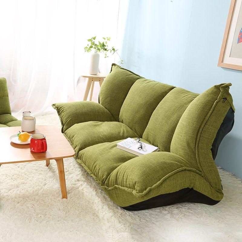 Floor Sofa Bed 5 Position Adjustable Sofa Plaid Japanese Style