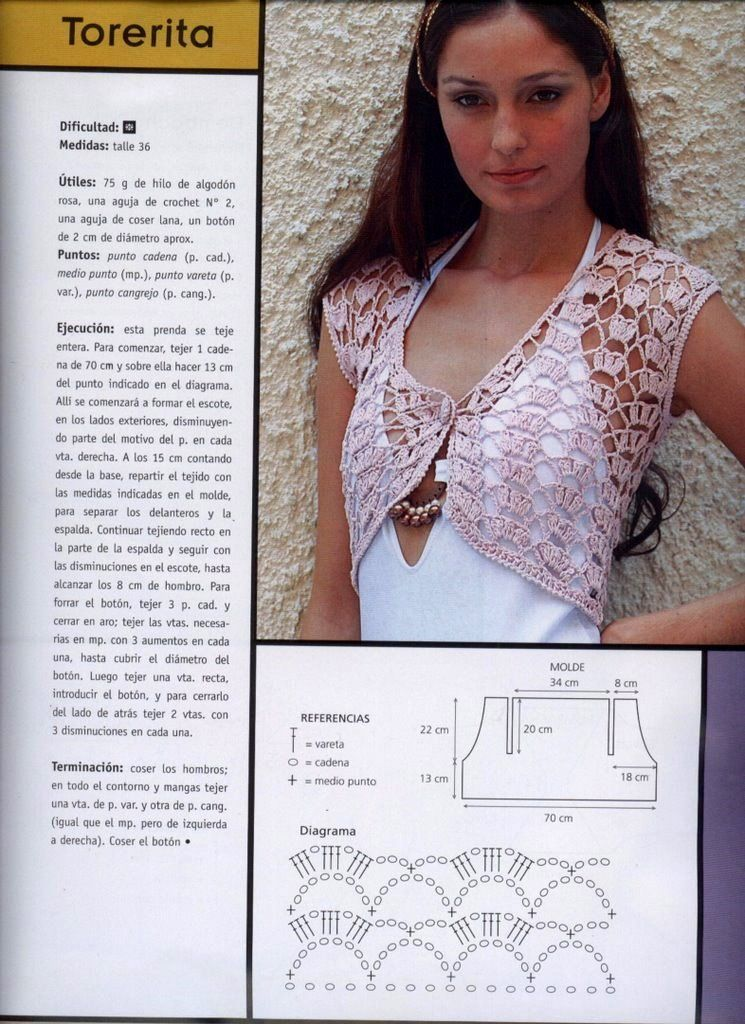 Patrones gratis de boleros tejidos a crochet - Imagui | chalecos ...