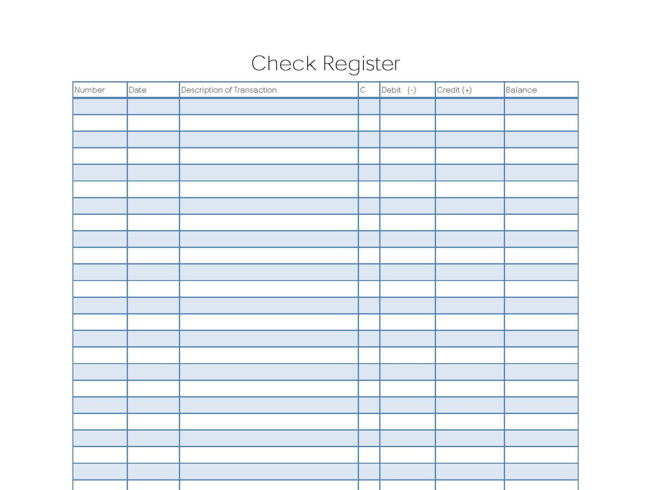 Printable Check Register