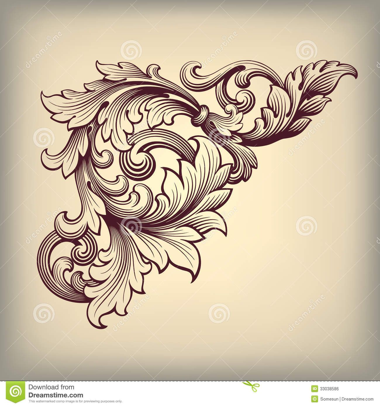 Vintage background ornate baroque pattern vector illustration stock - Vector Vintage Baroque Scroll Design Frame Corner Pattern Element Engraving Retro Style Ornament Stock Vector From The Largest Library Of Royalty Free
