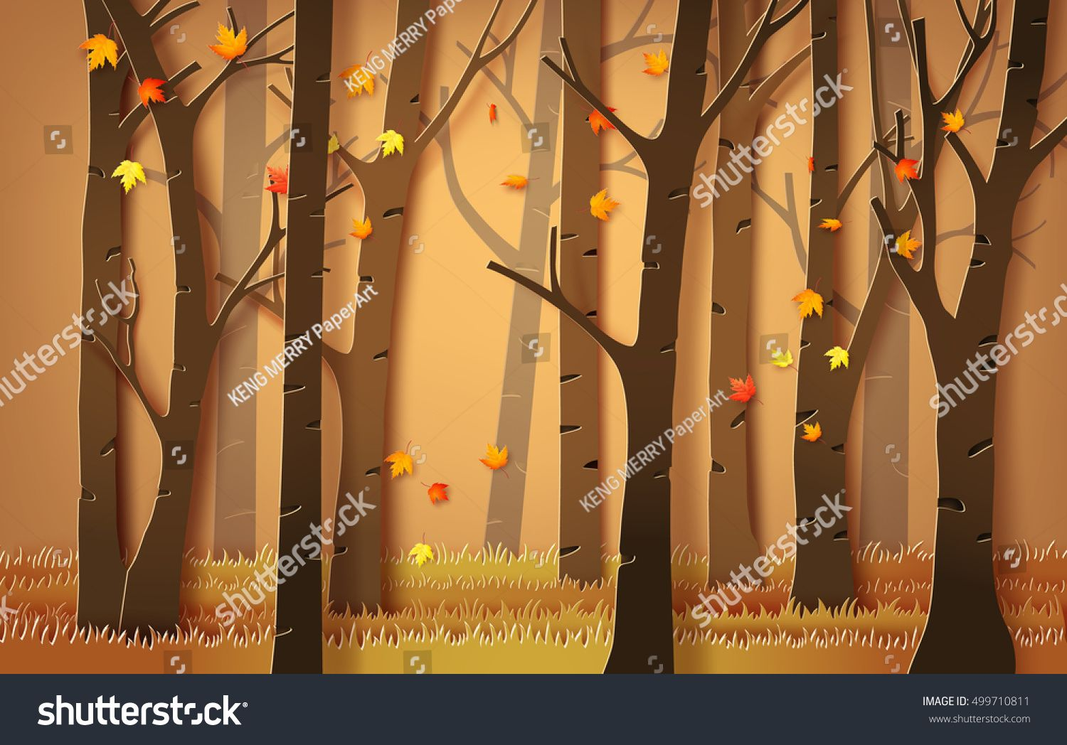 Autumnal forest with falling maple leaves. paper art style. ,