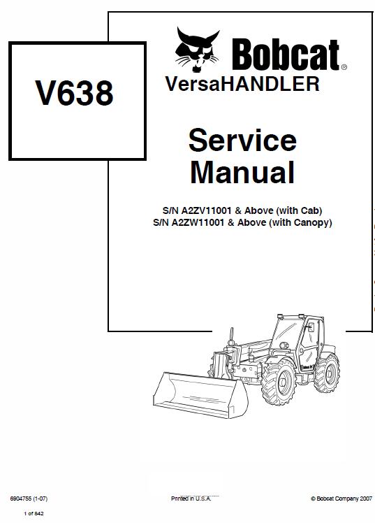 Bobcat V638 Versahandler Telescopic Service Manual Manual Bobcat Repair Manuals