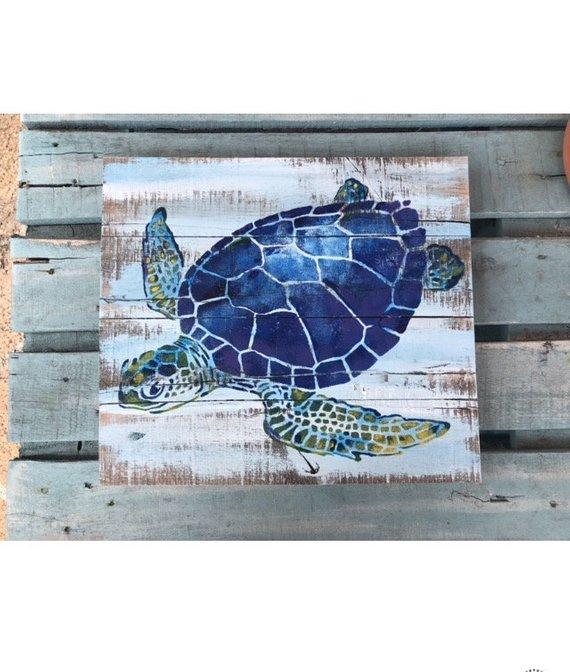 Best 12 Sea Turtle Handpainted On Driftwood By David Semones 8 12 1
