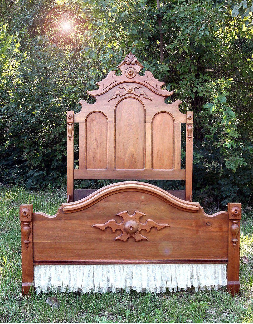 Antique Eastlake High Back Bed Frame Head Foot Board