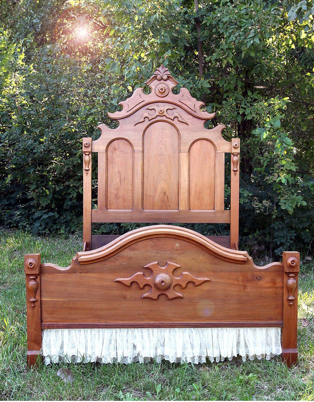Antique Eastlake High Back Bed Frame Head Foot Board Walnut Wood ...