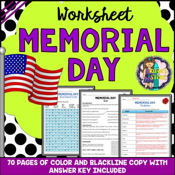 Memorial Day Worksheets with Blackline Copy & Answer Key ...