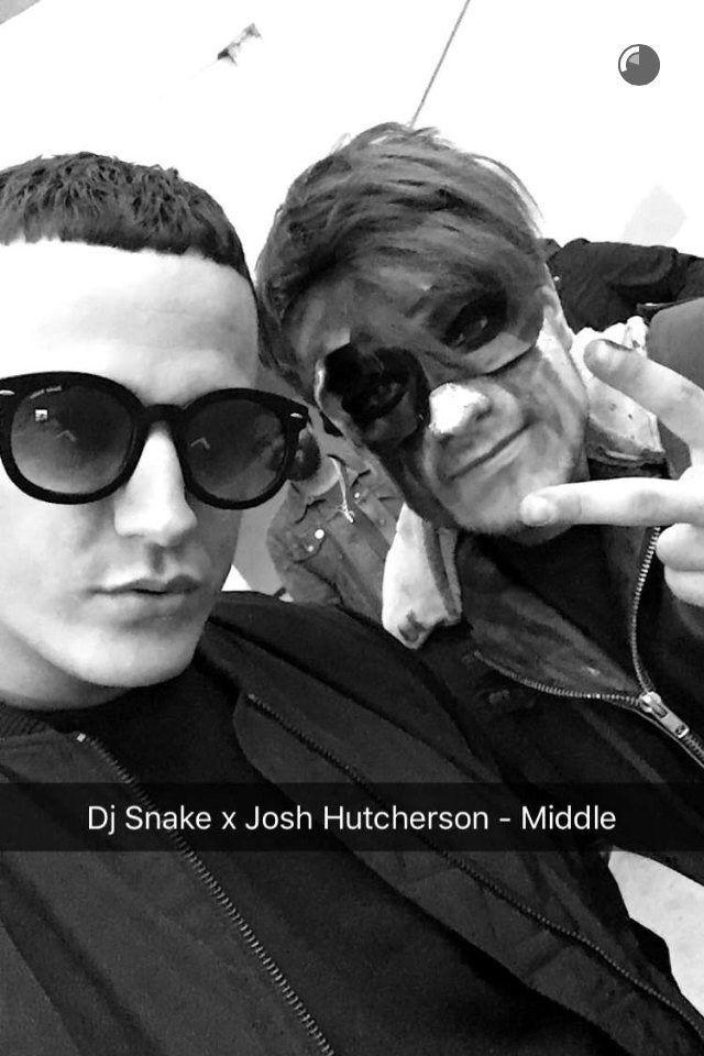 Josh Hutcherson filming a video with DJ Snake 2/25/16
