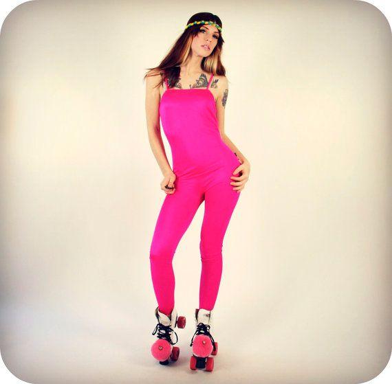 Neon Pink Leotard Unitard by GoodTimeIsland on Etsy