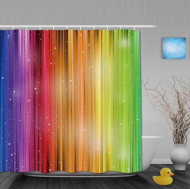 Striped Shimmer Rainbow Shower Curtain Custom Shower Curtains