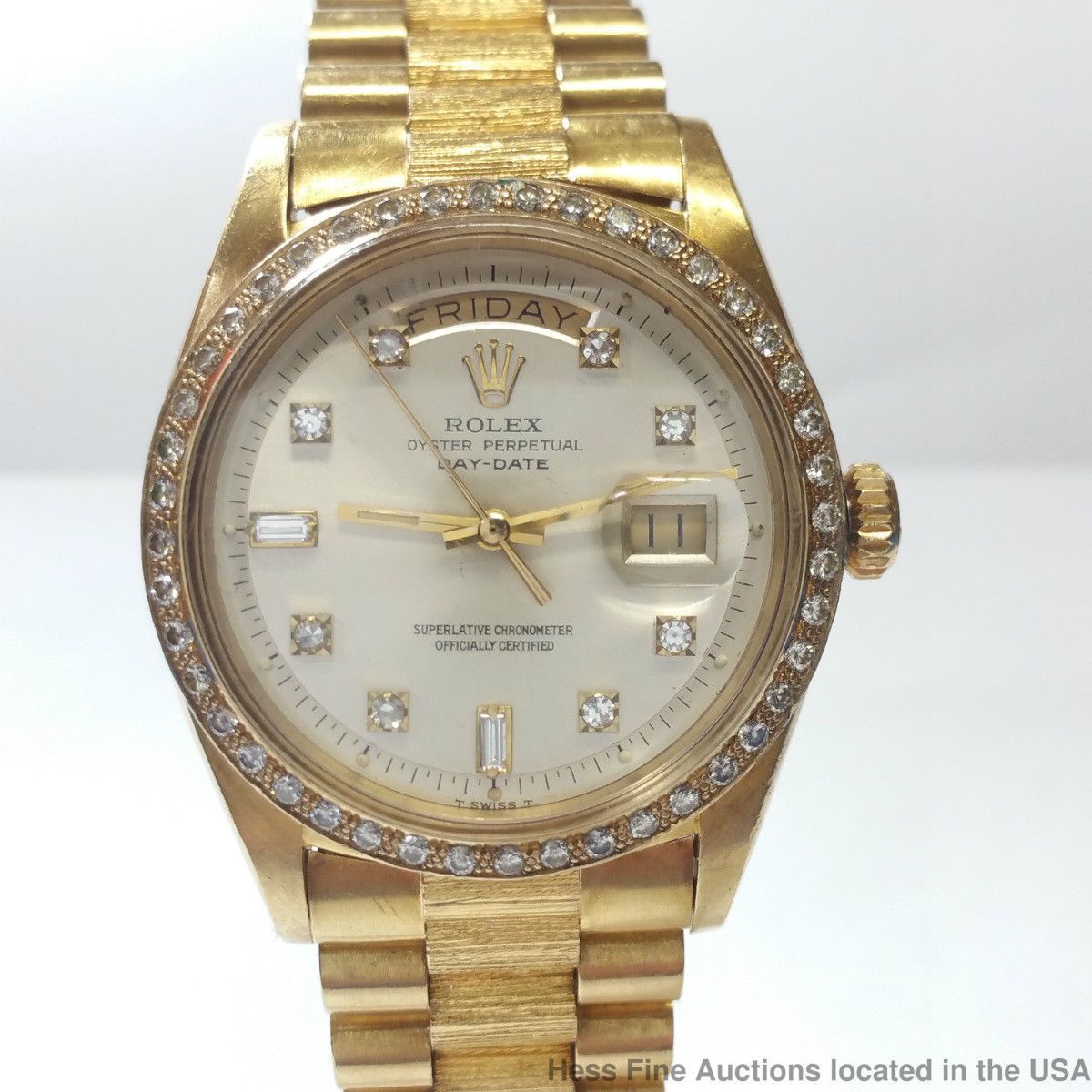 84e45a4ec6c4d #Forsale 1803 Cool Vintage 18k Gold #Rolex President Day Date W Diamond  Bezel Dial Watch #Auction @$6,600.00