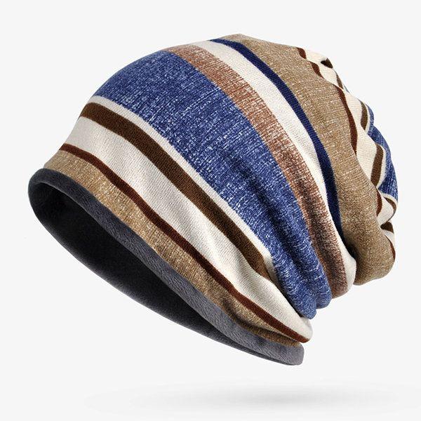 a59743da94e75 Women Mens Soft Breathable Stripe Beanies Cap Multifunction Collar Scarf