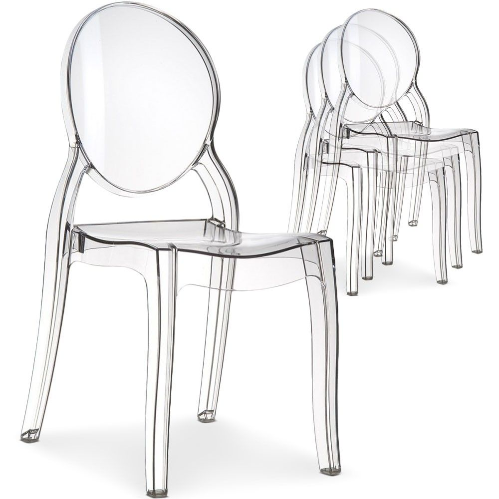Chaises Medaillon Transparentes Lot De 4 Chaises Médaillon Diva Plexi Transparent