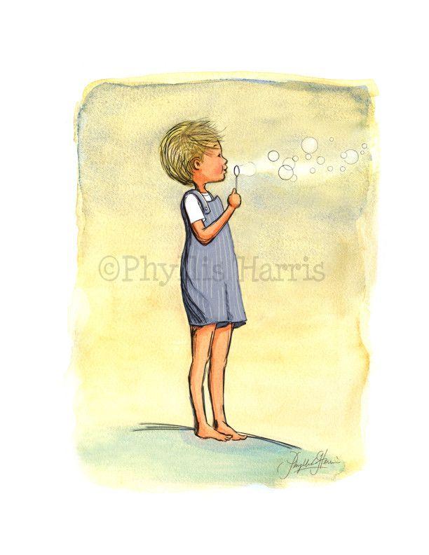 Boy Blowing Bubbles - Boy\'s Nursery Wall Art | Blowing bubbles, Boy ...