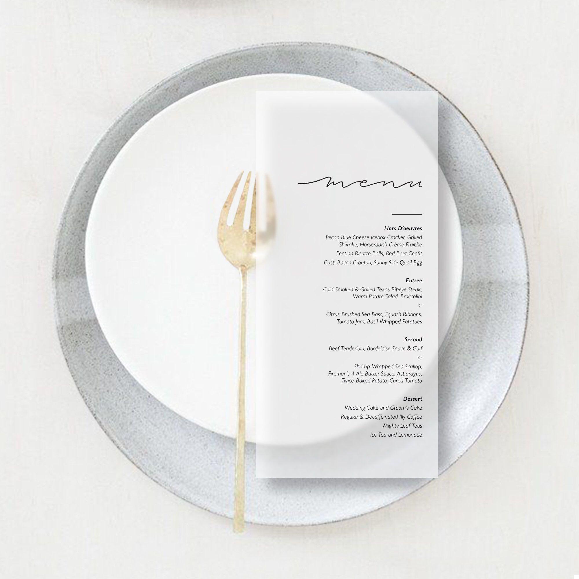 Reception Menu Wedding Menus Modern Wedding Menu on Vellum