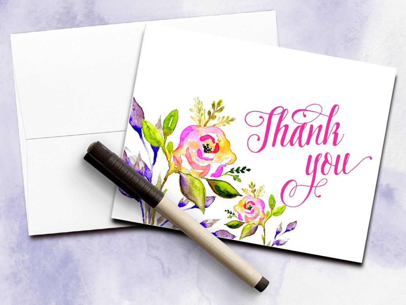 Thank you card watercolor card modern calligraphy floral thank you card watercolor card modern calligraphy floral greeting card watercolor greeting kristyandbryce Images