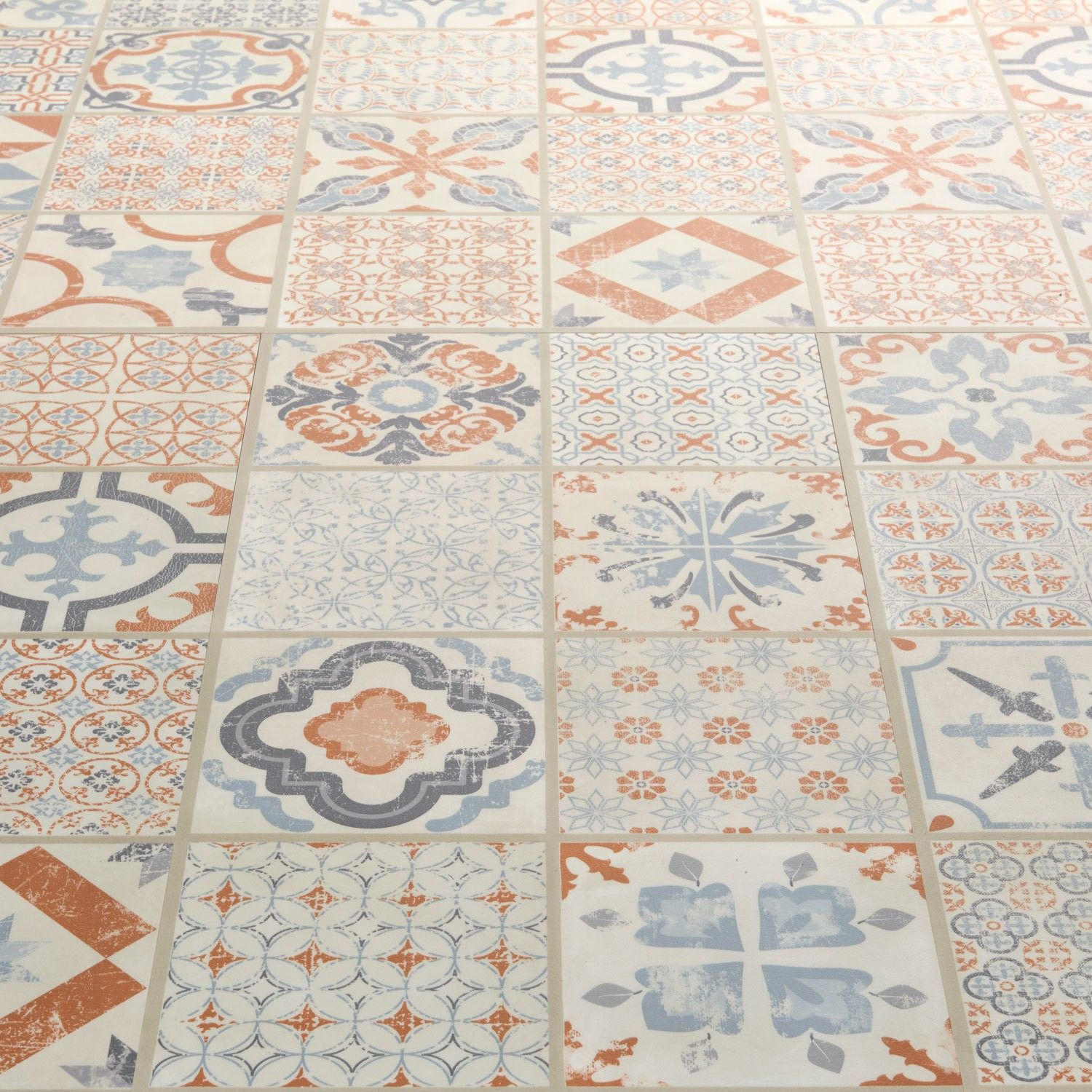 Starfloor Tile Retro Orange Blue Luxury Vinyl Tile