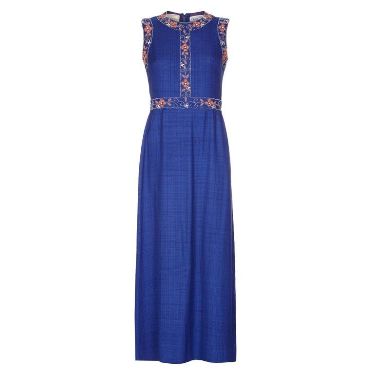 1970s Susan Small Blue Silk Linen Beaded Maxi Dress In 2020 Beaded Maxi Dress Day Dresses Maxi Dresses Uk