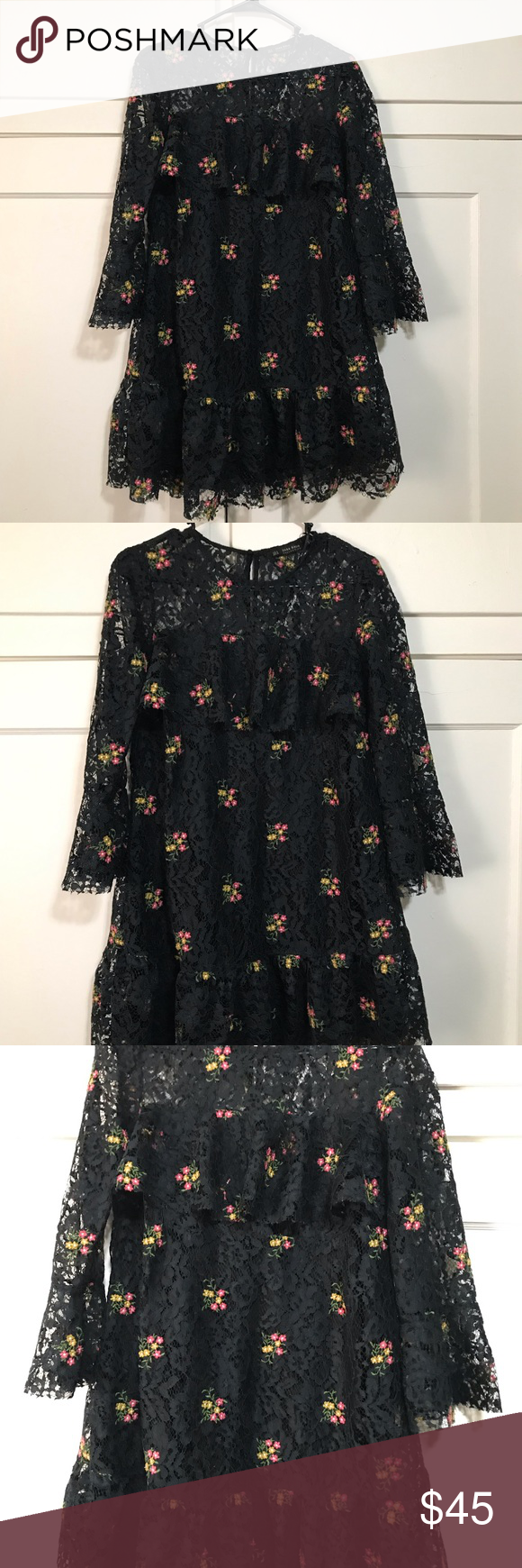 ZARA Basic lace embroidered dress in 2020 Embroidered
