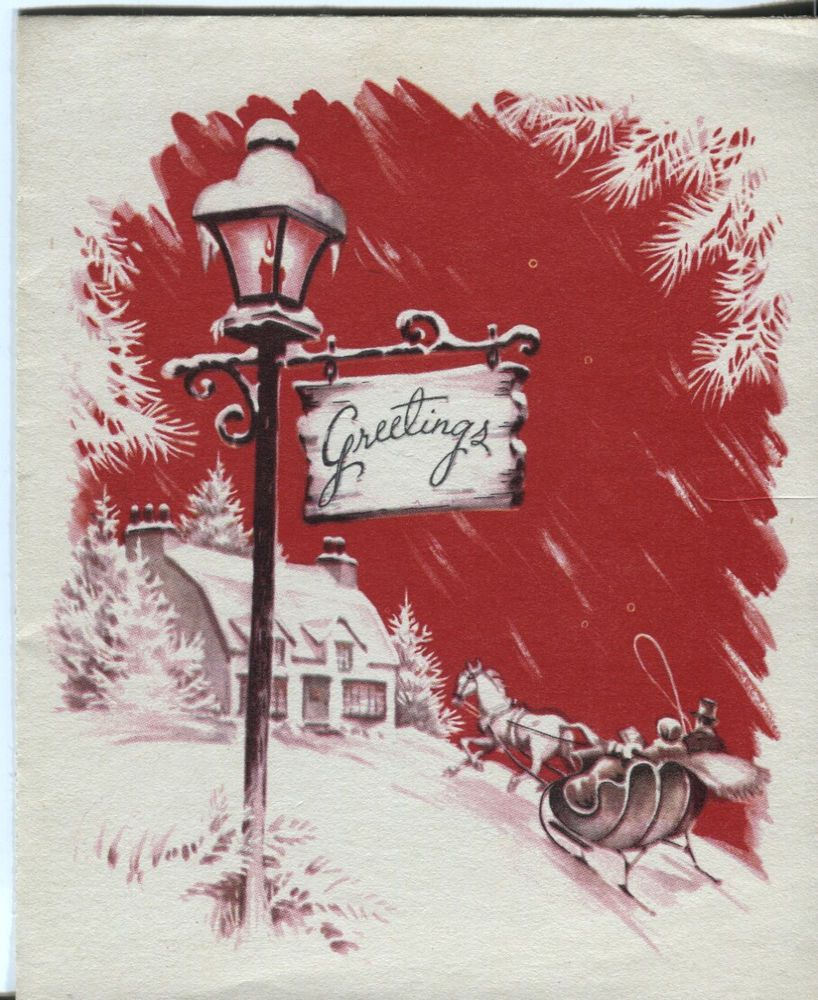 vintage pollyanna christmas card red sleighing scene - Christmas Pollyanna
