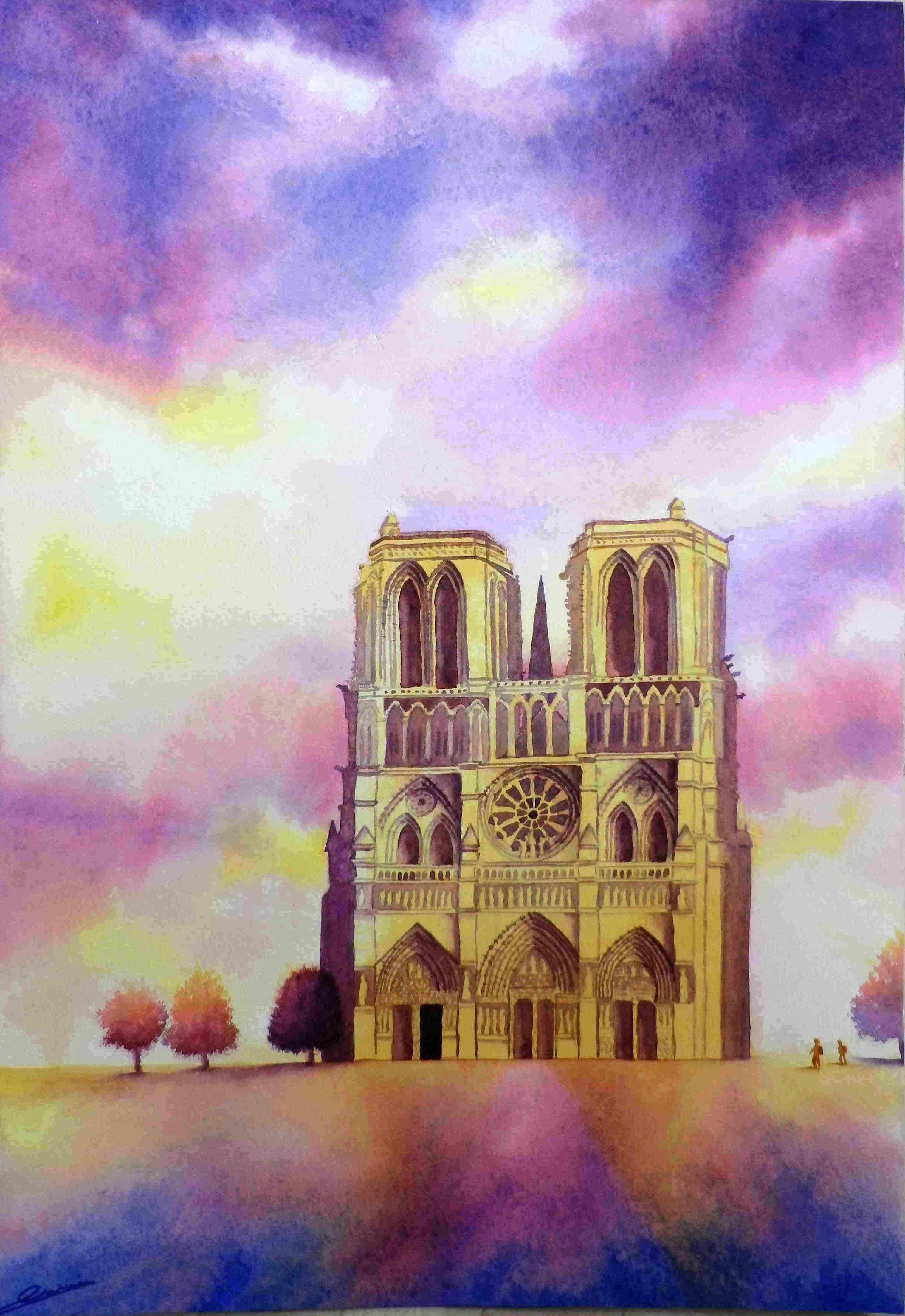 Notre Dame Aquarelle Watercolor By Isabelle Garnier Notre Dame