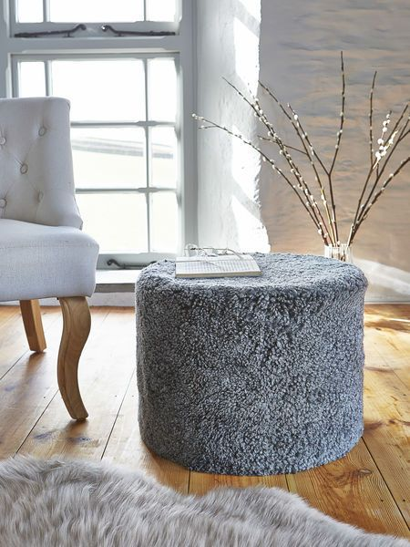 luxuriously super soft our short wool curly grey sheepskin poufs