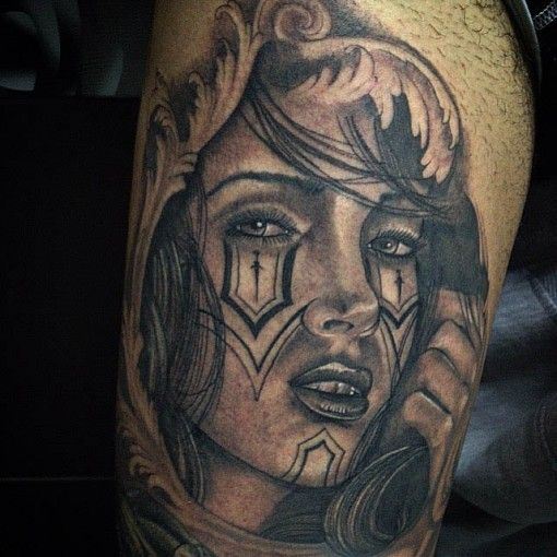 Tattoo girl chicano style chicano tattoo pinterest for Chicano tattoo ideas