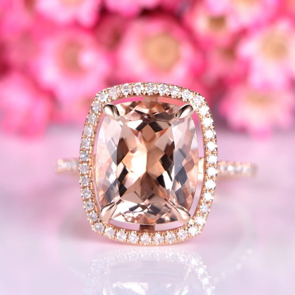 Big morganite engagement ring 10X12mm cushion cut pink morganite ...