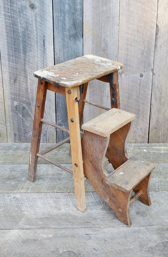 vintage folding wooden step stool rustic primitive shabby shelf display kitchen chair seat. Black Bedroom Furniture Sets. Home Design Ideas