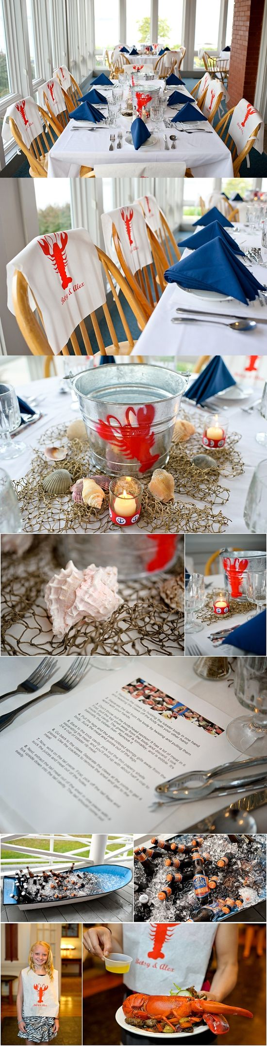 Maine Lobster bake Rehearsal Dinner Portland Maine Wedding Coastal Maine Wedding Red White and Blue How to eat a lobster Lobster Bibs