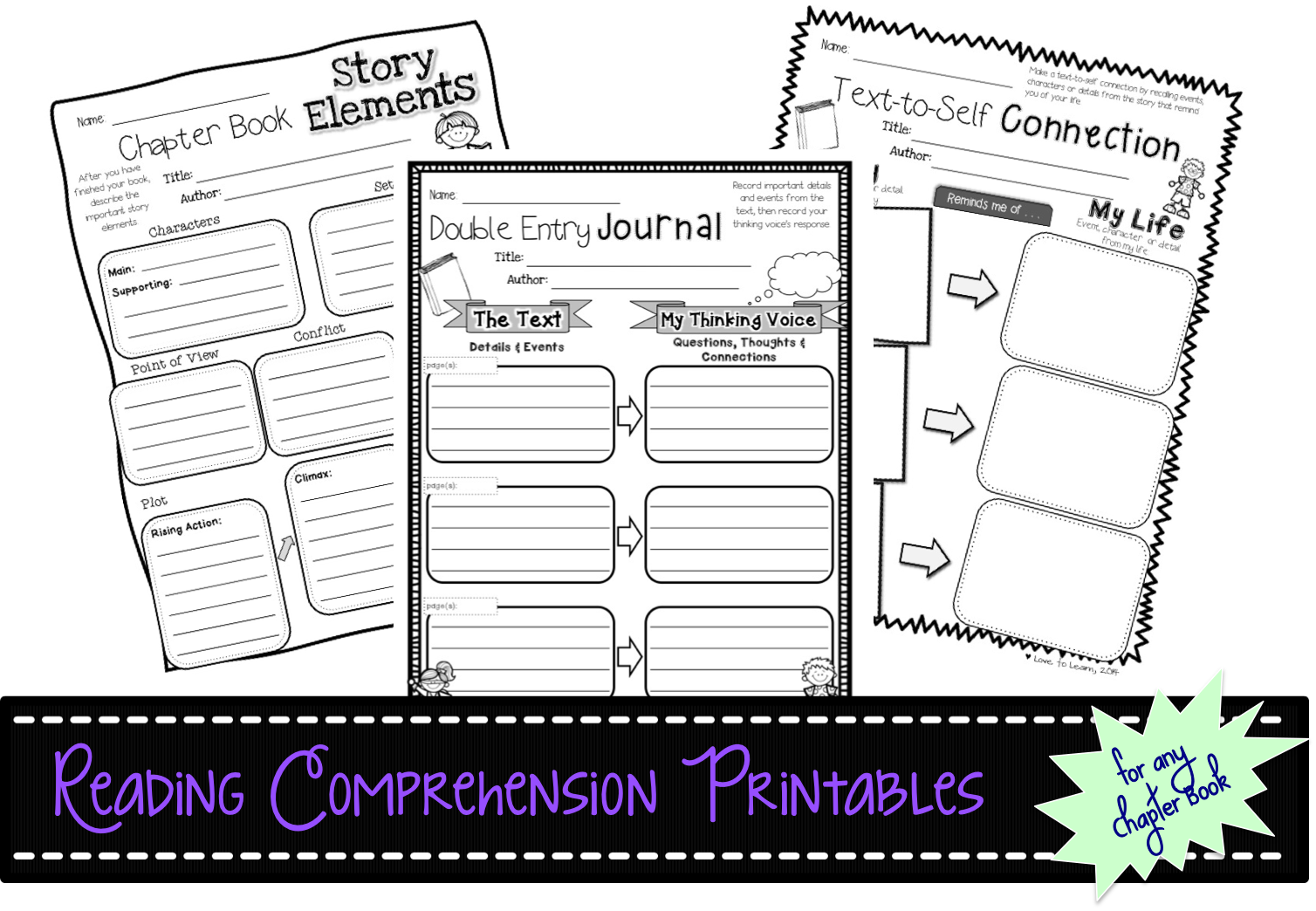 Reading Comprehension Printables For Any Chapter Book Connecting Retelling Predicting And More Reading Comprehension Text To Self Text To Self Connection [ 1044 x 1508 Pixel ]
