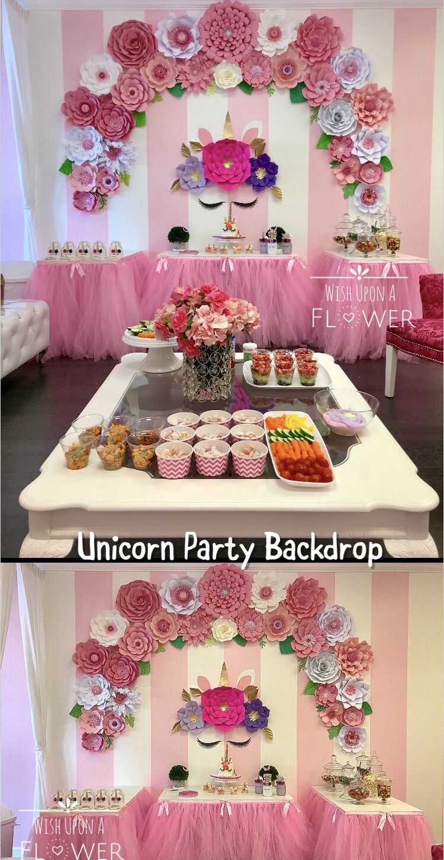 Unicorn Backdrop Unicorn Paper Flower Set Unicorn Wall Decoration