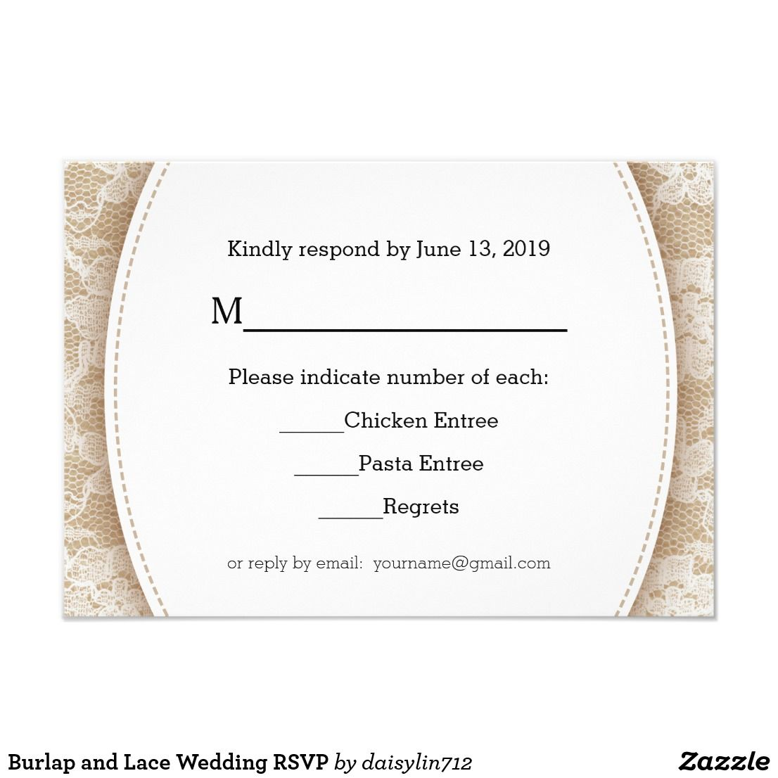 Burlap and lace wedding rsvp wedding invitations favors and