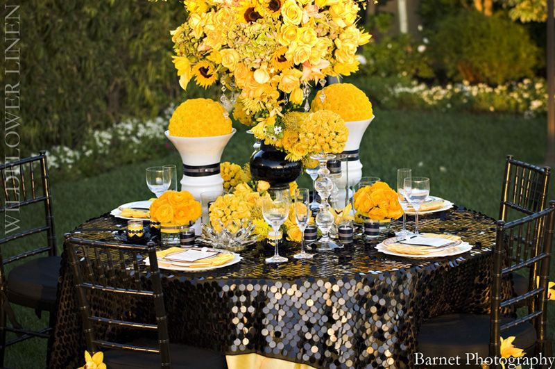 Sparkle Tablecloth Wedding Table Linens Yellow Wedding Wedding Linens