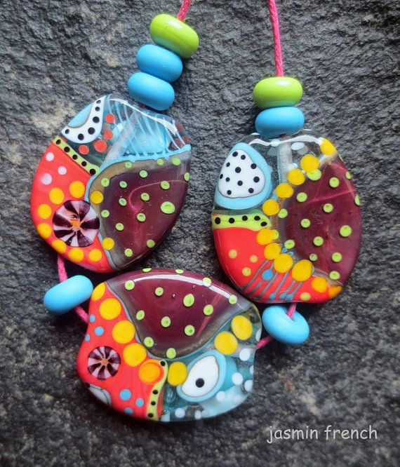 jasmin french      'vienna coffeehouse'   lampwork beads set sra