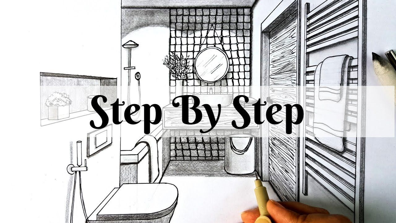 How To Draw A Bathroom In One Point Perspective Step By Step