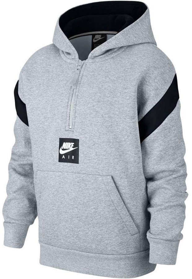 d83a7e636dca Nike Big Boys 1 2-Zip Air-Print Pullover Hoodie - Black S (8 10) in ...