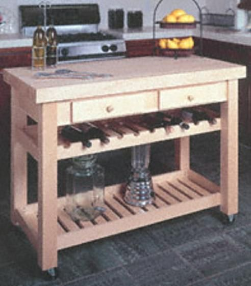 Kitchen Island Woodworking Plans - Wine rack  Drawers Woodworking
