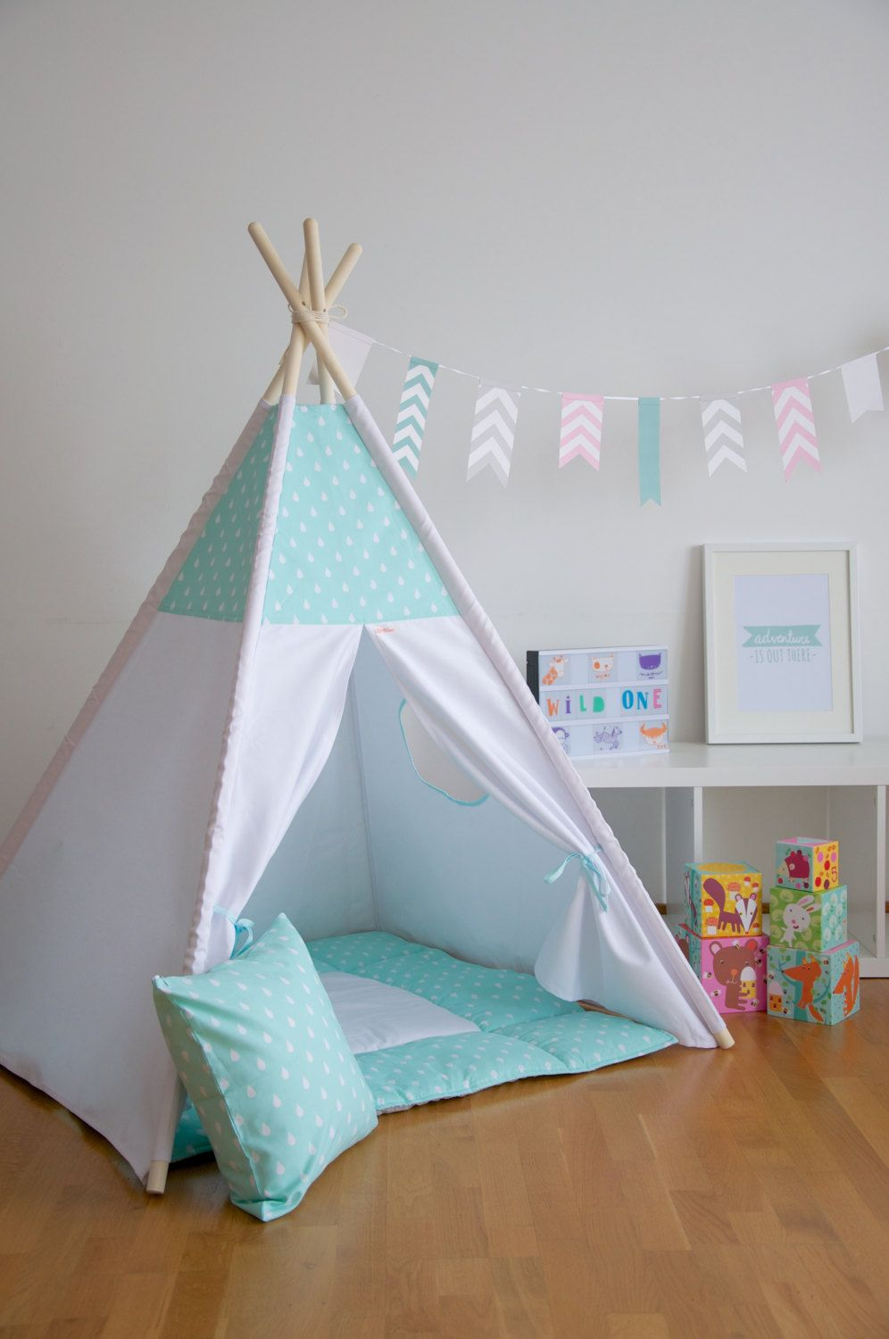 Mint drops kids teepee play tent with a padded floor mat by WigiWama on Etsy & Mint drops kids teepee play tent with a padded floor mat by ...