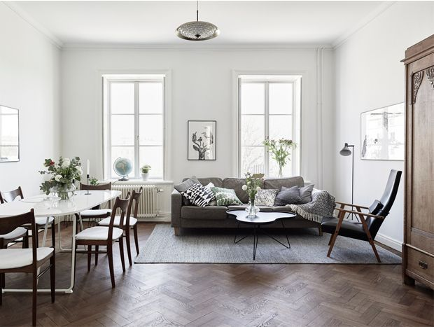 White Walls And Dark Wood Design Attractor Dark Wood Floors Living Room White Walls Living Room Living Room Scandinavian