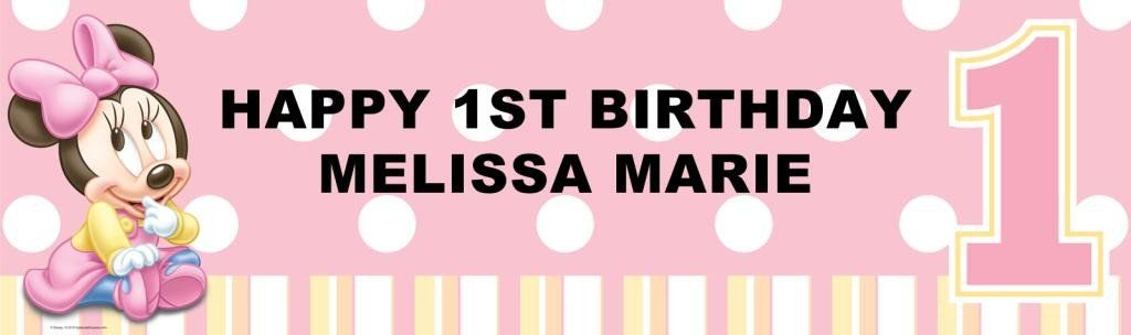 Disney Minnies 1st Birthday Personalized Banner Personalized