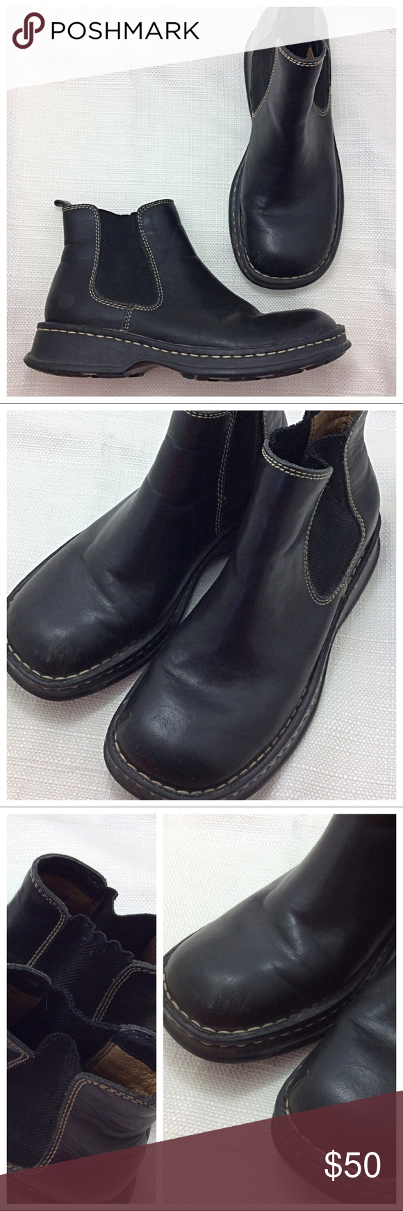 6f0298997df Born Pull-on Ankle Boot Super soft black leather with wide toe box. Pull-on  design with wide elastic stretch. Minor signs of wear on toe and elastic