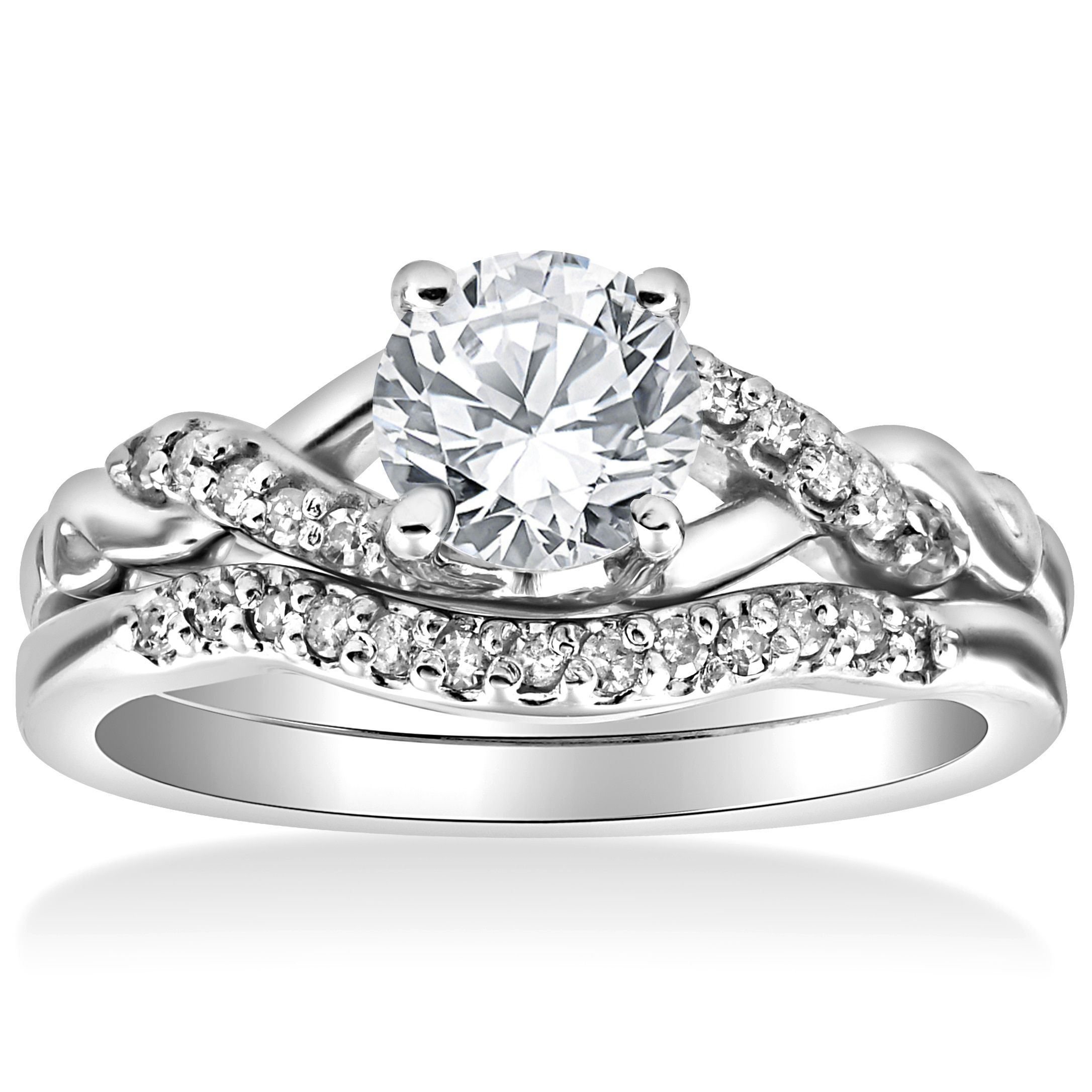 14K White Gold 5/8 cttw Diamond Engagement Matching