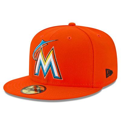 best service 3e897 2e50a Men s New Era Orange Miami Marlins 2017 All-Star Game Patch Authentic  Collection On-Field 59FIFTY Fitted Hat